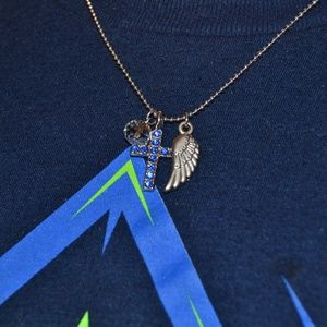 NWT Blue Gem Cross with Angel Wing Necklace C13